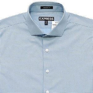 New EXPRESS Blue Modern Fit Dot Dress Shirt Medium